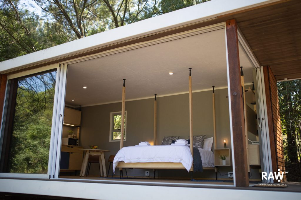 Zenkaya prefab living unit interior bed Stilts plywood furniture